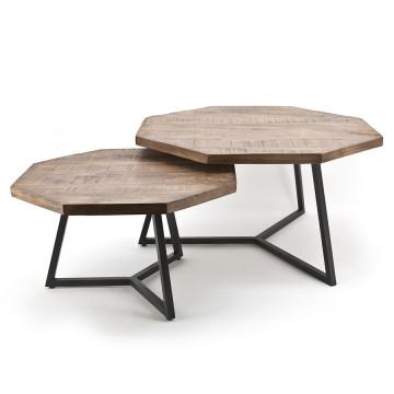 Set 2 masute de cafea octagonale din lemn de mango 76x76x42 cm maro