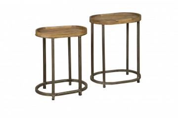 Set 2 masute de cafea ovale din lemn 50x35x65 cm maro