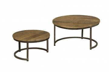 Set 2 masute de cafea rotunde din lemn 72x72x40 cm maro
