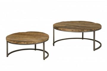 Set 2 masute de cafea rotunde din lemn 90x90x40 cm maro