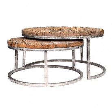 Set 2 masute de cafea rotunde din lemn Kensington 46x91.5x91.5 cm maro