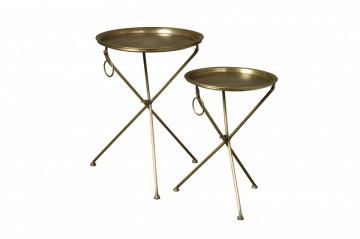 Set 2 masute de cafea rotunde din metal 47x47x67 cm aurii
