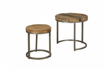 Set 2 masute de cafea rotunde din metal 52x52x51 cm maro