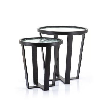 Set 2 masute de cafea rotunde din metal si sticla Loup 50x50x52 cm transparente/negre