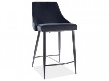 Set 2 scaune de bar din catifea Piano negre