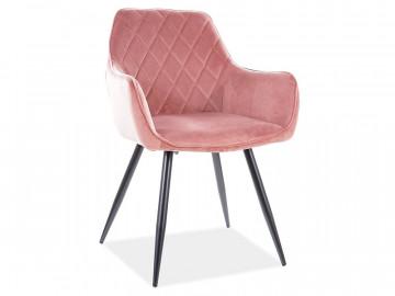 Set 2 scaune din catifea Linea roz
