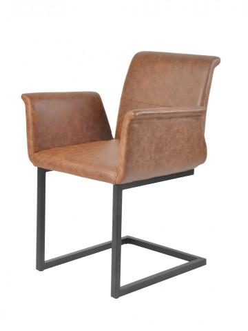 Set 2 scaune piele artificiala maro deschis