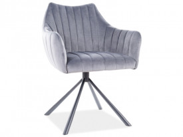 Set 2 scaune rotative din catifea Agava gri