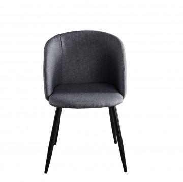 Set 2 scaune tapitate cu cadru din otel gri/negru