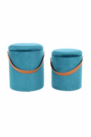 Set 2 tabureti tapitati cu spatiu pentru depozitare Arabella albastri