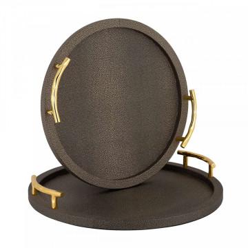 Set 2 tavi rotunde pentru servire Bealuh, maro, 6.5x44/6.5x39 cm