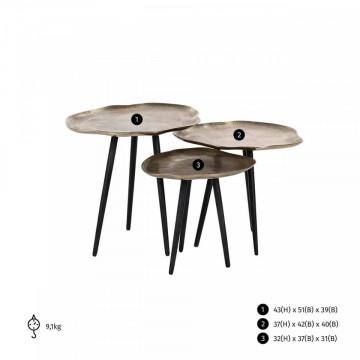 Set 3 masute de cafea rotunde din aluminiu Volenta 43x51x39 cm negru/maro