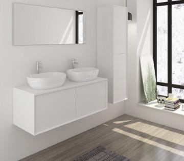 Set 3 piese mobilier pentru baie, alb mat, 120 cm