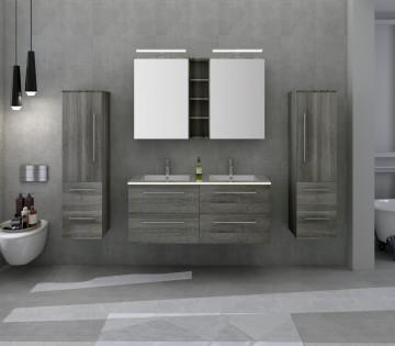 Set 4 piese mobilier din MDF pentru baie, gri stejar, 120 cm