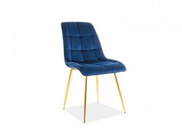 Set 4 scaune din catifea Chic albastru/auriu
