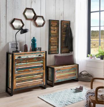 Set 7 piese mobilier pentru hol din lemn Fiume multicolor