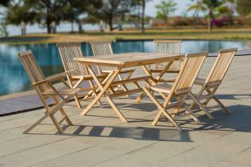 Set masa cu 6 scaune pentru gradina din lemn de tec maro