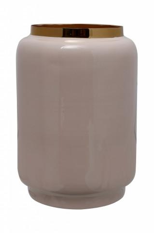 Vaza din fier Art Deco, bej / auriu 15x15x24,5 cm