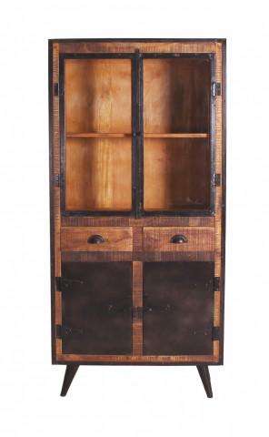 Vitrina din lemn de mango 90x40x190 cm, maro/negru