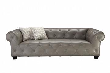 Canapea din piele artificiala SIT4SOFA gri, 3 locuri