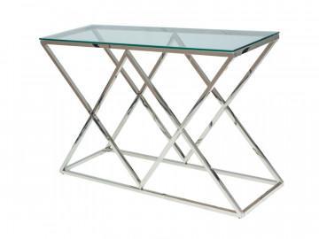 Consola din sticla cu cadru metalic argintiu 78 x 80 x 40 cm