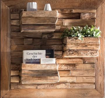 Decoratiune de perete cu 3 rafturi din lemn de tec natural ROMANTEAKA