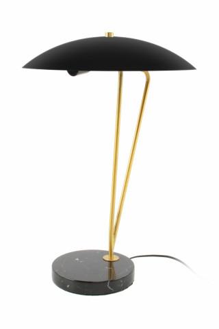 Lampa decorativa din fier/marmura Kayani neagra /aurie /neagra, un bec
