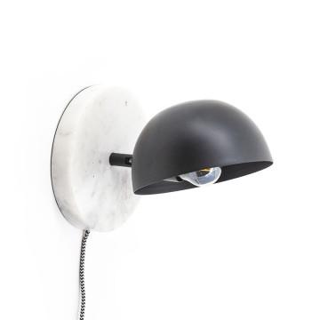 Lampa perete din marmura si fier Lisa alb / negru mat