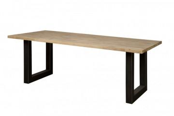 Masa dreptunghiulara cu blat din lemn de salcam 220x100x77 cm maro deschis/negru