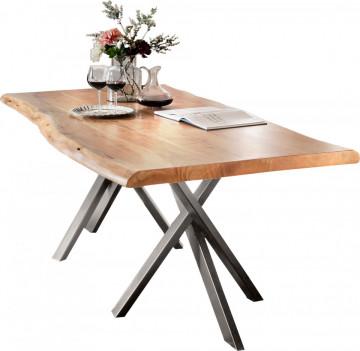 Masa dreptunghiulara cu blat din lemn de salcam Tables & Benches 200 x 100 x 76 cm maro/argintie