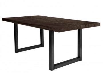 Masa dreptunghiulara cu blat din lemn de stejar Tables & Benches 180 x 100 x 76 cm gri carbon/negru