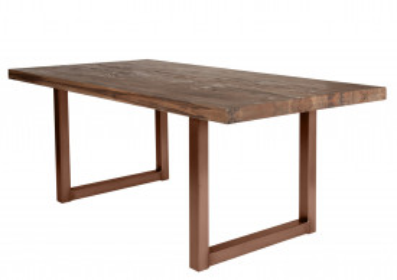 Masa dreptunghiulara cu blat din lemn de stejar Tables & Benches 200 x 100 x 76 cm maro