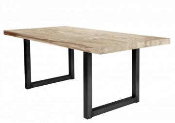 Masa dreptunghiulara cu blat din lemn de stejar Tables & Benches 220 x 100 x 76 cm maro deschis/negru