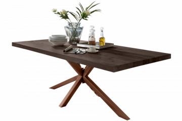 Masa dreptunghiulara cu blat din lemn de stejar Tables & Benches 220 x 100 x 76,5 cm gri carbon/maro