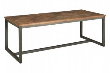 Masa dreptunghiulara cu blat din lemn de tec reciclat 240x100x78 cm maro/negru