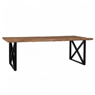 Masa dreptunghiulara cu blat din lemn de tec reciclat Industrial Kensington 75x180x100 cm