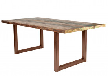 Masa dreptunghiulara cu blat din lemn de tec reciclat Tables & Benches 220 x 100 x 76,5 cm multicolor/maro