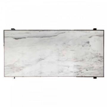 Masa dreptunghiulara cu blat din marmura Levanto 78 x 200 x 94 cm alb/argintiu