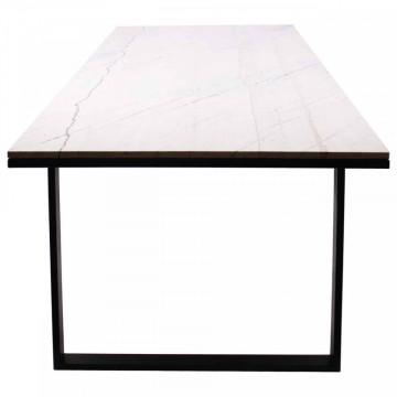 Masa dreptunghiulara cu blat din marmura Lexington alb/negru