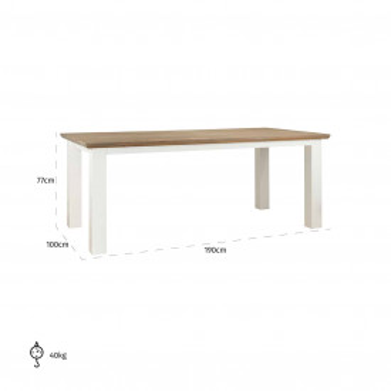 Masa dreptunghiulara din lemn de stejar Cardiff 77 x 190 x 90 cm alb/maro
