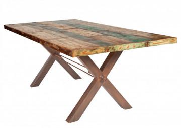 Masa dreptunghiulara din lemn de tec reciclat Tables & Benches 200x100x76,5 cm multicolor/maro