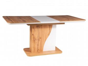 Masa dreptunghiulara extensibila din lemn 120 x 80 x 76 cm maro / alb