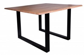 Masa patrata cu blat din lemn de salcam Tables & Benches 120x120x77 cm maro/negru