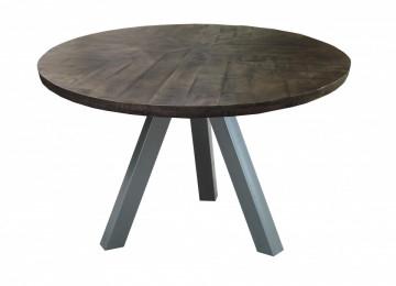 Masa rotunda cu blat din lemn de mango Tables&Benches 120x120x76 cm maro inchis/argintiu