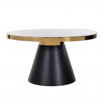 Masa rotunda cu blat din marmura Odin 75 x 140 x 140 cm negru/alb/auriu