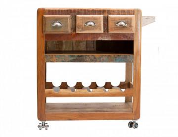 Masuta/Carucior pentru bucatarie din lemn Fridge, 78x48x85 cm, multicolor