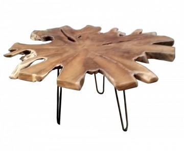 Masuta de cafea cu forma neregulata din lemn de tec Romanteaka 70x70x45 cm maro/negru