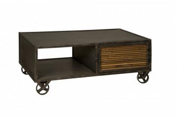 Masuta de cafea dreptunghiulara din lemn cu spatiu de depozitare 125x70x48 cm negru/maro
