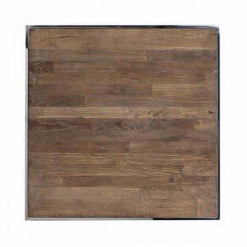 Masuta de cafea patrata din lemn si inox Redmond 55x55x60 cm maro