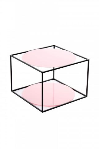 Masuta de cafea patrata din sticla cu spatiu de depozitare Cody 50x50x36 cm roz/negru